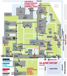 Plánek městské nemocnice Ostrava