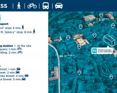 Access by public transport (tram, buses), car, bikesharing stations.