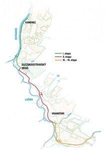 trasa rekonstrukce sběrače B do Radvanic